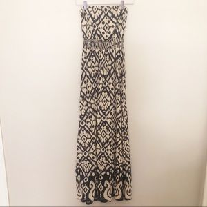 Lucky Brand Strapless Maxi Dress Navy/Nude Size XS